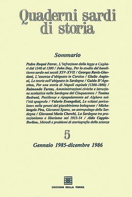 Quaderni sardi di storia 5. Gennaio 1985-Dicembre 1986